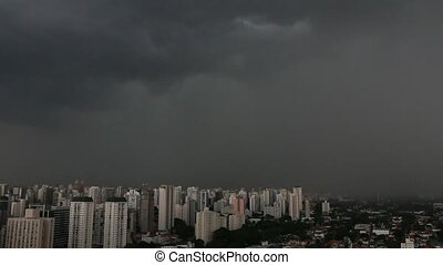 It rains very strong in the city of Sao Paulo, Brazil