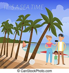 It s sea time banner vector illustration. Family talking selfie banner flat vector illustration. Summer beach vacation on seaside, tropical holiday. Woman using phone for photo.