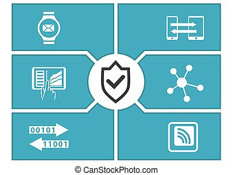 IT security concept for mobile devices. Vector illustration.