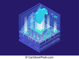 IT Security concept with symbol of shield and analytics dashboard as isometric vector illustration