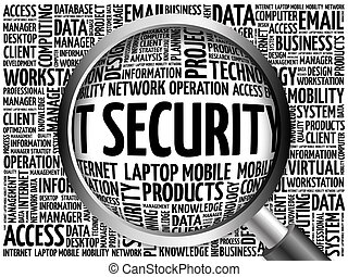 IT Security word cloud with magnifying glass, business...