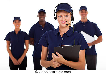 IT service call center operator with headphones and team