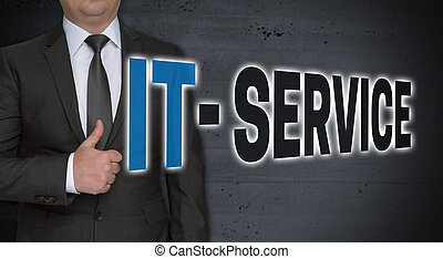 IT service concept and businessman with thumbs up