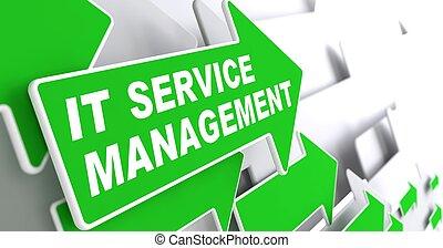 "Service Management - IT Concept. Green Arrow with ""IT Service Management"" Slogan on a Grey Background. 3D Render."