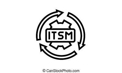 it service management animated black icon. it service management sign. isolated on white background