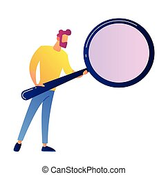 IT specialist with magnifying glass vector illustration.