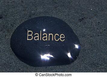 it., steen, evenwicht, geschreven