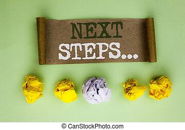 it., suivre, concept, donner, steps...., texte, balles, stratégie, suivant, guideline, écrit, papier, plan, fond, uni, directions, écriture, mouvements, signification, carton