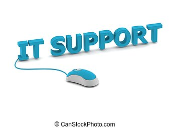 IT support and computer mouse - Rendered artwork with white...