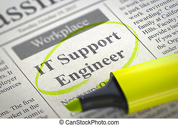 IT Support Engineer - Job Vacancy in Newspaper, Circled with a Yellow Highlighter. Blurred Image with Selective focus. Job Seeking Concept. 3D Rendering.