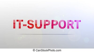 IT-Support. Particle Logo. Text Animation. Red Logotype on white grey background. Rotation and Slide. High quality 4k footage