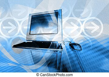 IT technology business - desktop computer with abstract...