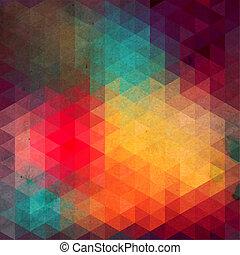 it., trójkąt, backdrop., barwny, próbka, górny, shapes., triangle, tło., tło, hipster, mozaika, tekst, miejsce, geometryczny, twój, zasłona, retro