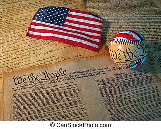 it., uni, constitution, etats, drapeau, base-ball, mots, accompagné, copie