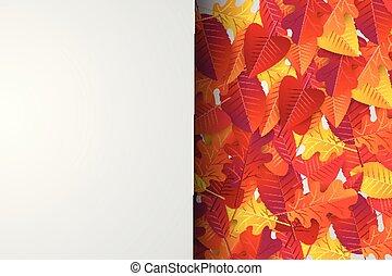 it., wallpaper., concetto, illustration., stagione, foglie, cadere, vendita, autunno, realistico, vettore, disegno, fondo, testo, sopra, bandiera, template.