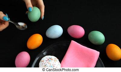 it., złamanie, dziewczyna, czyści, jajko