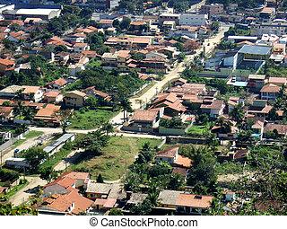 itaipu, város, látott, alapján, a, hegy tető
