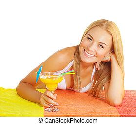 ital, csinos, nő, koktél