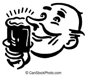 ital, egészen, változat, fekete, nyomtat, fehér, élvez, ...