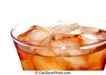 ital, lágy, jég, megtöltött