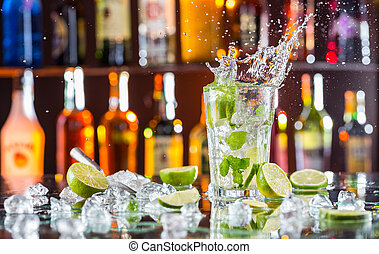 ital, mojito, pult, bár, koktél