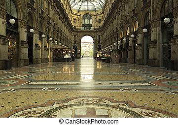 italië, centrum, emanuele, milaan, vittorio, galerij