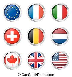 ..., italië, -, frankrijk, sticker:, land, europa