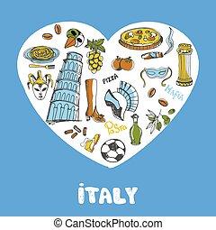 italië, gekleurde, doodles, vector, verzameling