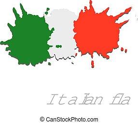 italië, geverfde, hand, vlag, paints., borstel, kunst