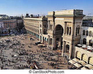 italië, lombardy, emanuele, milaan, galleria, vittorio, ii