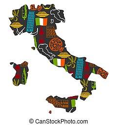 italië, map., symbolen, vorm, voorwerpen, ontwerp, achtergrond, italiaanse