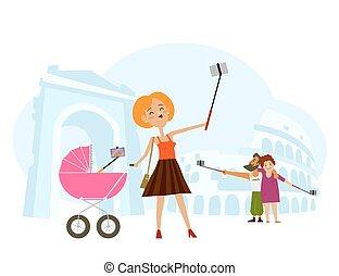 italië, paar, jonge volwassene, moeder, vervaardiging, selfie