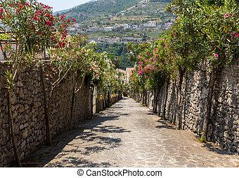 italia, amalfi, ravello., strada, coast., azzurramento, oleanders, stretta, ripido