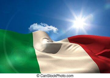 italia, bandera nacional, debajo, soleado, cielo