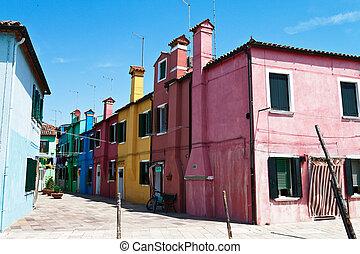 italia, burano, venice., isla