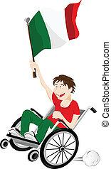 italia, carrozzella, bandiera, ventilatore, sport, sostenitore