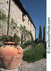 italia, casa, toscana, tradicional, lado del país