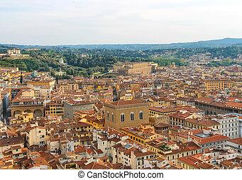 italia, centro, cima, storico, firenze, vista
