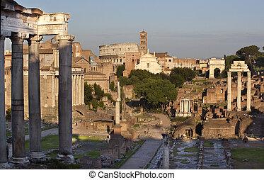 italia, centro, foro, perspectiva general, roma, camino