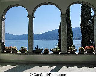 italia, chalet, monastero., lago como, vista
