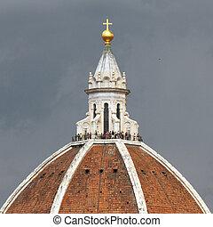 italia, cielo, aislado, cúpula, catedral, florencia