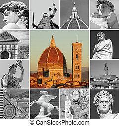 italia, collage, -, arte, florencia