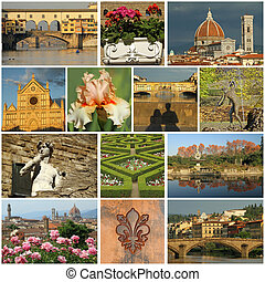 italia, collage-, maravilloso, florentino, imágenes, florencia