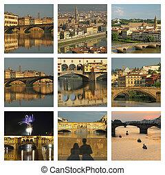 italia, collage, maravilloso, imágenes, florencia, río arno