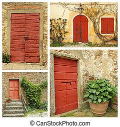 italia, collage, paese, porte, rosso