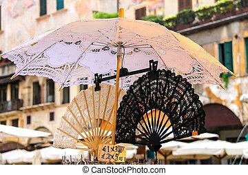 italia, encaje, verona, ventilador, parasol, mercado