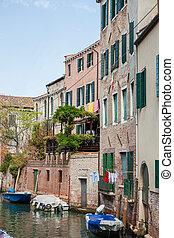 italia, escena, canal, venecia