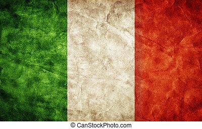 italia, flag., vendimia, artículo, banderas, retro, ...