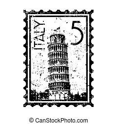 italia, francobollo, isolato, illustrazione, singolo,...