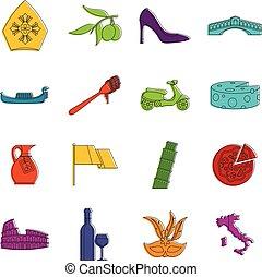 Italia icons doodle set - Italia icons set. Doodle...